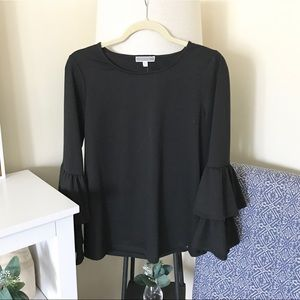 PLEIONE / Black Tiered Ruffle Bell Sleeves